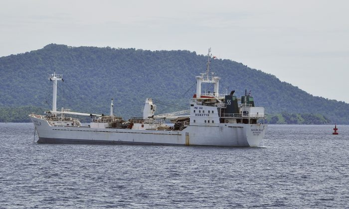 Thai-owned cargo ship Silver Sea 2 is anchored off an Indonesian Navy base in Sabang, Aceh province, Indonesia, Thursday, Aug. 13, 2015. (AP Photo/Syahrul Rizal)