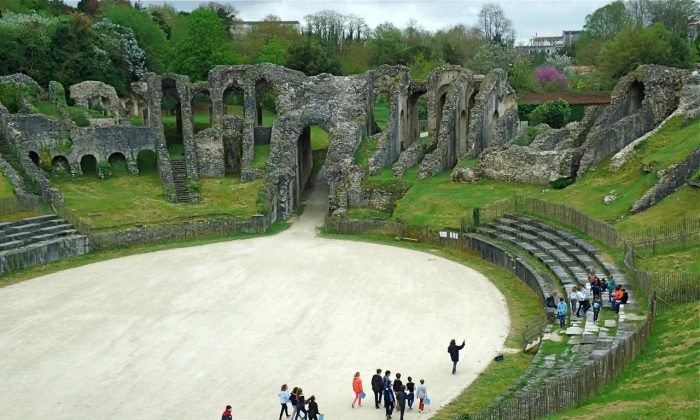 The remains of a Roman amphitheatre in Saintes, a historic town noteworthy for its Gallo-Roman, medieval, and classical heritage. (Susan James)