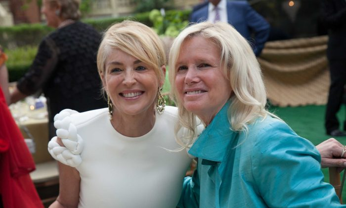 Sharon Stone (L) and Dr. Susan Blumenthal, former U.S. Assistant Surgeon General, at Potomac, Maryland, on July 25. (Patricia McDougall)