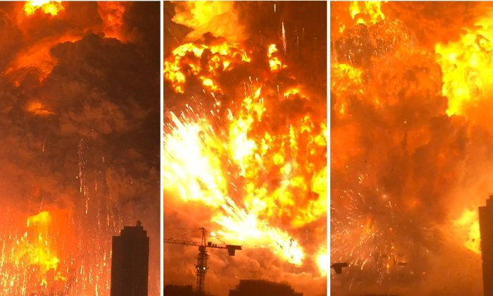 In this combination of Aug. 12, 2015, images taken from video provided by Dan Van Duren a warehouse explodes in Tianjin, China, as filmed from a nearby residential building. Tianjin is the world's 10th largest port.  (Dan Van Duren via AP)