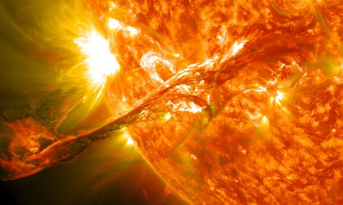 The magnificent solar flare that emerged from the sun in August 2012. Luckily, it didn't head towards earth. (NASA Goddard Space Flight Center, CC BY 2.0)