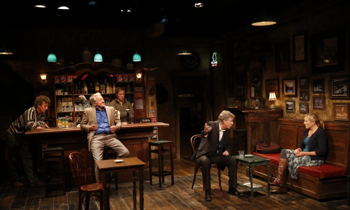 "The cast of ""The Weir,"" (L–R) John Keating, Sean Gormley, Tim Ruddy, Paul O'Brien, and Mary McCann, in a splendid production of the touching play. (Carol Rosegg)"