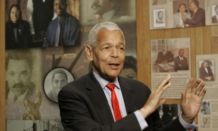 In this Oct. 13, 2006, file photo, Julian Bond, chairman of the Board for The National Association for the Advancement of Colored People, gestures as he talk to the media about the organization at The University of South Carolina in Columbia, S.C. Bond, a civil rights activist and longtime board chairman of the NAACP, died Saturday, Aug. 15, 2015. (AP Photo/Mary Ann Chastain, File)