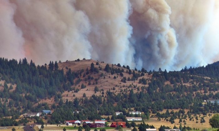 The Canyon Creek Complex fire burns towards a rural subdivision of John Day on Friday, Aug. 14, 2015.(Les Zaitz/The Oregonian/OregonLive via AP)