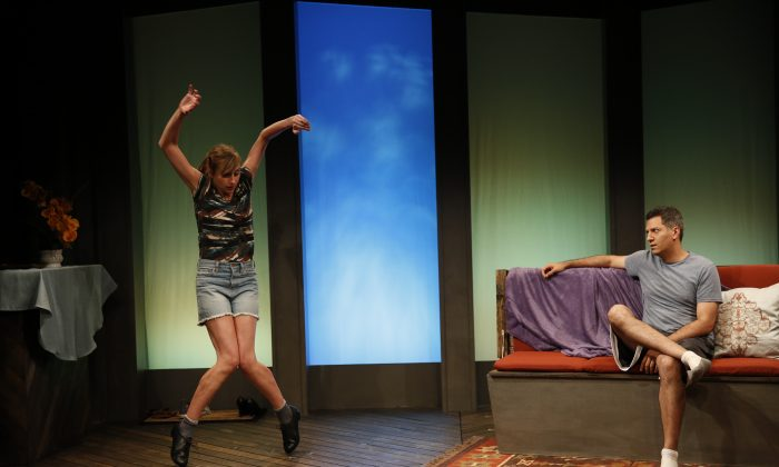 "(L–R) Lauren Blumenfeld and Alfredo Narciso in ""Unstuck"" by Lucy Thurber, as part of Summer Shorts 2015. Narciso plays Pete, who although stuck in life, still seems to be able to advise others, like his sister on her new dance steps.  (Carol Rosegg)"