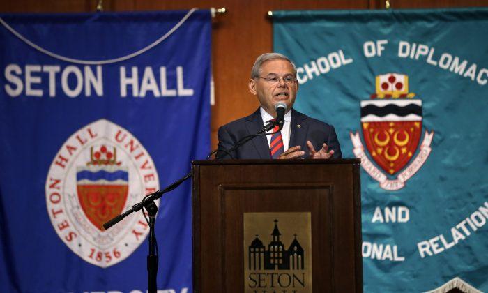 Sen. Bob Menendez addresses  a gathering at Seton Hall University in South Orange, N.J., on Tuesday, Aug. 18, 2015. (AP Photo/Mel Evans)
