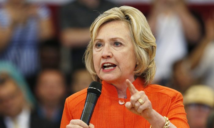 Democratic presidential candidate Hillary Rodham Clinton in North Las Vegas, Nev., on Aug. 18, 2015. (AP Photo/John Locher)