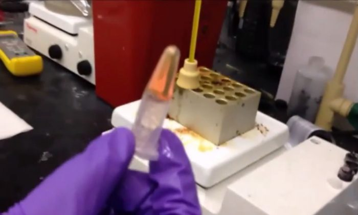 Solar panel-enhancing gel created by University of Connecticut research team. (Screenshot via American Chemical Society/YouTube)