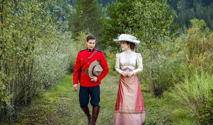 """Erin Krakow as Elizabeth Thatcher and Daniel Lissing as Constable Jack Thornton in a scene from """"When Calls the Heart."""" (Courtesy of Hallmark Channel)"""