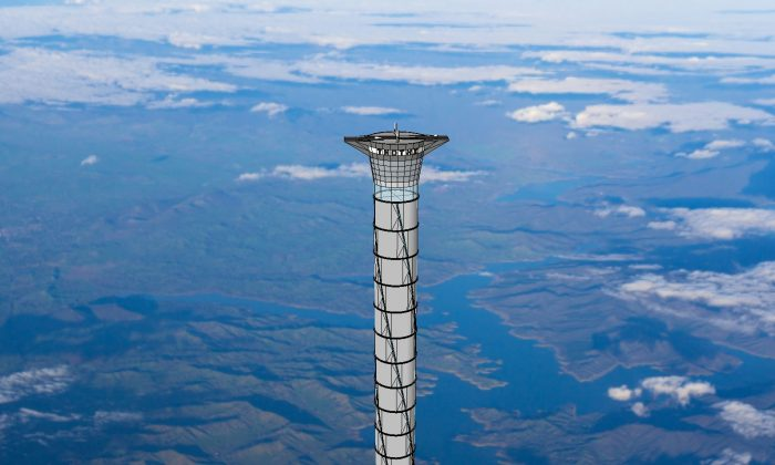 An artist's concept of the soaring 20-kilometre space elevator being developed by Thoth Technology. (Courtesy of Thoth Technology)