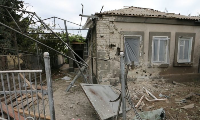 Artillery damage in Sartana, Ukraine. The attack, which comprised 122-mm and 152-mm artillery, lasted for 25 minutes on Oct. 16. (Nolan Peterson/The Daily Signal)