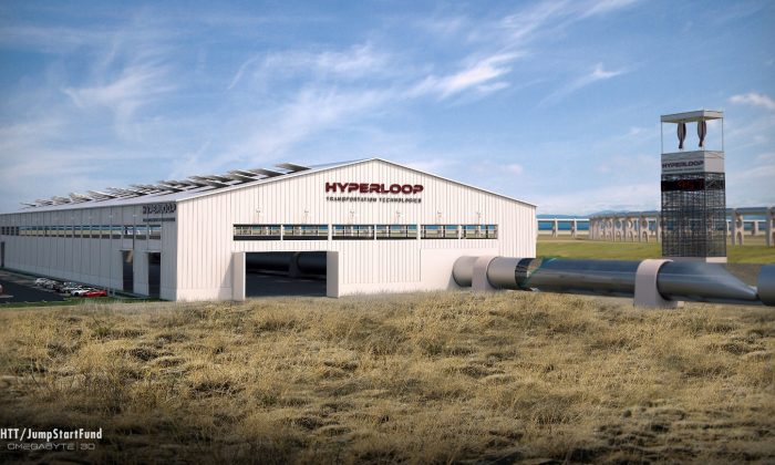 Artistic rendering of the Hyperloop (Hyperloop Transportation Technologies)