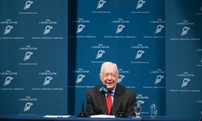 Former President Jimmy Carter discusses his cancer diagnosis during a press conference at the Carter Center on August 20, 2015 in Atlanta, Georgia. (Jessica McGowan/Getty Images)