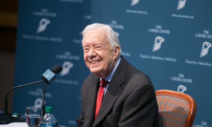 Former President Jimmy Carter discusses his cancer diagnosis during a press conference at the Carter Center in Atlanta on Aug. 20, 2015. (Jessica McGowan/Getty Images)
