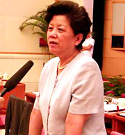 """Director of China's education system and Jiang Zemin's favored subordinate in the """"Shanghai Faction,"""" Chen Zhili. Editor's Note: Shanghai Faction refers to the group of officials in the central Communist government who were originally local officials from Shanghai. [Archive Photo]"""
