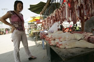 SICHUAN, CHINA: Poor Chinese peasants are still selling pork in a market located in the suburb of Chengdu city, Sichuan province (Peter Parks/AFP/Getty Images)