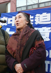 A former member of the Chinese People's Political Consultative Conference Rebiya Kadeer at the International Human Rights day rally (The Epoch Times photo by Li Jia)