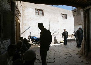 This photo shows Muslim Uighurs in the old quarter of Kashgar of narrow alleys and adobe-style homes, in the far flung outpost of the ancient Silk Road in China's far western Xinjiang Uighur Autonomous Region. The Central Asian home to Turkic speaking Muslim Uighurs has seen growing numbers of Han Chinese migrants after 55 years of communist domination and an eroding traditional lifestyle. (Frederic J. Brown/AFP/Getty Images)