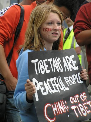 Young protester at a rally in Wellington for Tibet Wednesday 19 March, 2008. (Charlotte Cuthbertson/The Epoch Times)