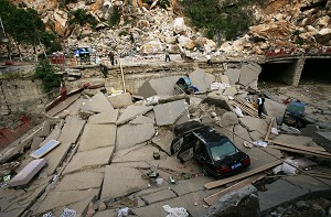 The devastation created by a collapsed road in Beichuan County, one of the hardest-hit areas, of Sichuan province, China. (China Photos/Getty Images)