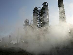 Vapors escape from the China National Petroleum Corp (CNPC) -owned Dushanzi Petrochemical Factory in Dushanzi of Xinjiang province, China. (Guang Niu/Getty Images)