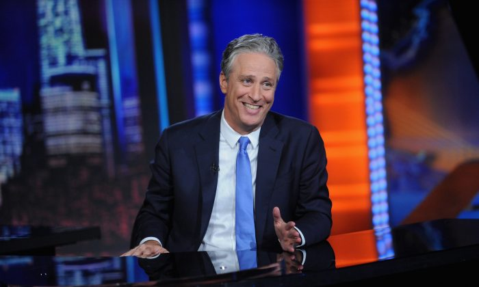 Jon Stewart hosts 'The Daily Show with Jon Stewart' #JonVoyage on August 6, 2015 in New York City. (Brad Barket/Getty Images)