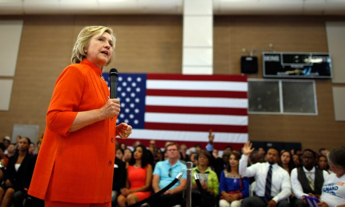 Democratic presidential candidate and former U.S. Secretary of State Hillary Clinton delivers remarks during a campaign stop at Dr. William U. Pearson Community Center on August 18, 2015 in North Las Vegas, Nevada. (Isaac Brekken/Getty Images)
