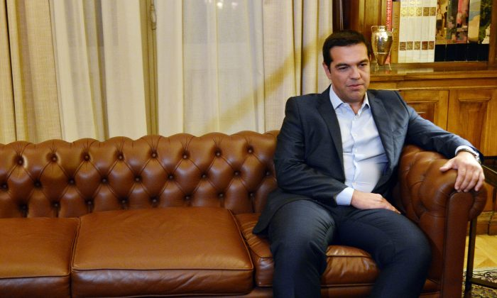 Greek Prime Minister Alexis Tsipras meets with president of Greek republic, Prokopis Pavlopoulos (not pictured) at the presidental palace in Athens on  August 20, 2015. (Louisa  Gouiliamaki/AFP/Getty Images)