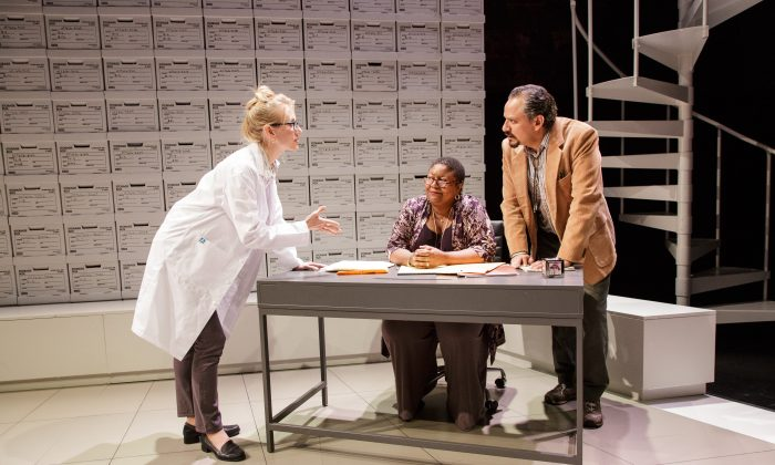 """(L–R) Tina Benko, Myra Lucretia Taylor, and Jesse J. Perez in a scene from """"Informed Consent,"""" a play in which a world of data is pitted against a world of relationships. (James Leynse)"""