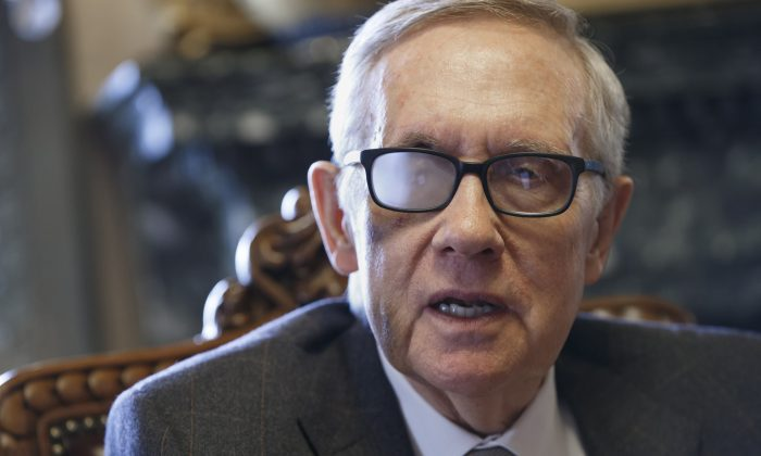 Senate Minority Leader Harry Reid (D-Nev.) talks about his future and the agenda of the Democrats who are now in the minority, during an interview in Washington, on March 4, 2015. (J. Scott Applewhite/AP)