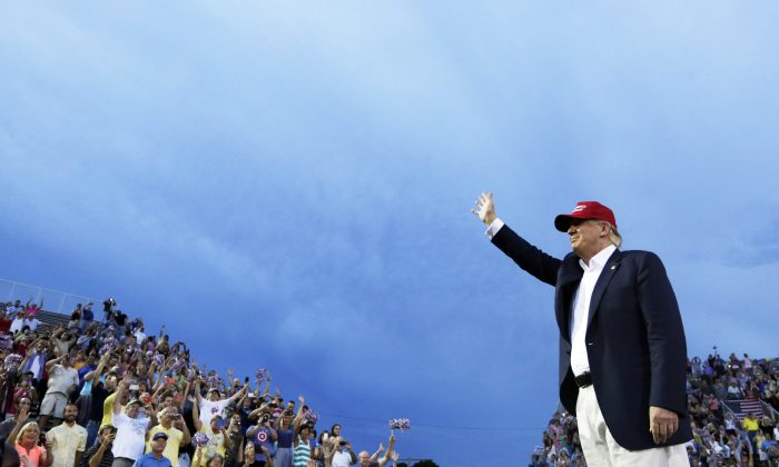 Republican presidential candidate Donald Trump at a campaign pep rally in Mobile, Ala., on Aug. 21, 2015. (AP Photo/Brynn Anderson, File)