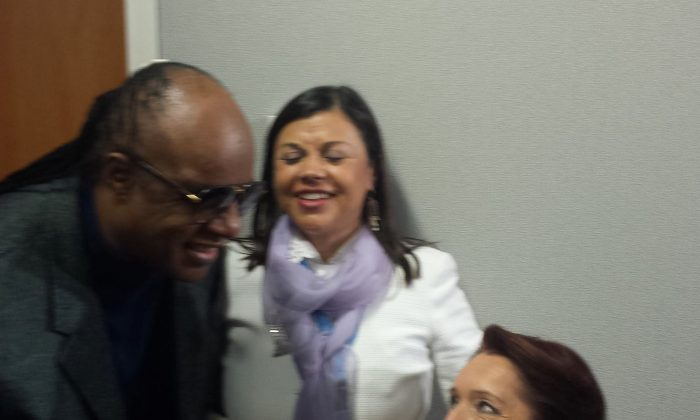 United Nations director of United Nations Department of Economic and Social Affairs, Daniela Bas, with Stevie Wonder. Bas says that the involvement of celebrities like Stevie Wonder helps the message of equality and dignity for all be heard by a large audience. (courtesy Daniela Bas)
