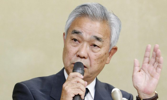 Japan Pension Service head Toichiro Mizushima during a press conference at the Welfare Ministry in Tokyo on June 1, 2015. Japan's pension service said on June 1 it suffered a hack attack that led to 1.25 million cases of personal data being leaked. (JIJI PRESS/AFP/Getty Images)