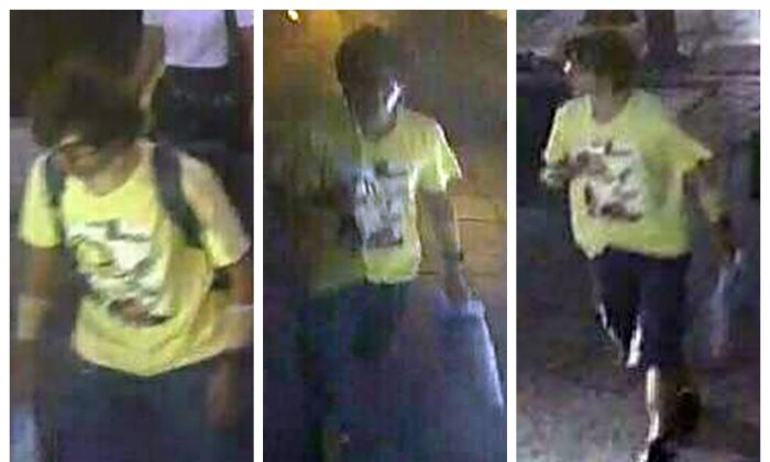 """FILE - In this Aug. 17, 2015 file image, released by Royal Thai Police spokesman Lt. Gen. Prawut Thavornsiri shows a man wearing a yellow T-shirt near the Erawan Shrine before an explosion occurred in Bangkok, Thailand.National police chief Somyot Poompanmoung said Monday, Aug. 24,2015,  that police were trying to """"put pieces of the puzzle together"""" but had to use their imagination to fill holes where street-side security cameras were broken and unable to record the suspect's movements. (Royal Thai Police via AP, File)"""