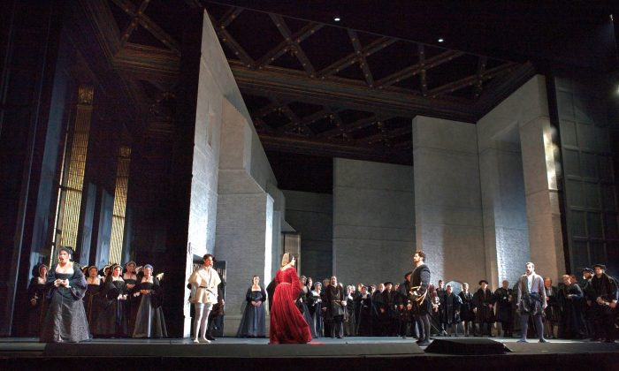 "A scene from Act 1 of Donizetti's ""Anna Bolena."" (Ken Howard/Metropolitan Opera)"