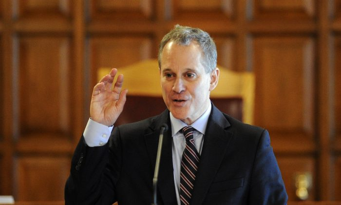 New York State Attorney Eric T. Schneiderman in Albany, N.Y., on Tuesday, May 5, 2015. (Hans Pennink/AP Photo)