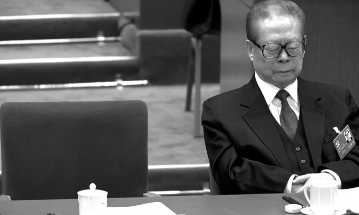 Former Chinese Communist Party leader Jiang Zemin at the Great Hall of the People in Beijing on Nov. 8, 2012. (Alexander F. Yuan/AP Photo)