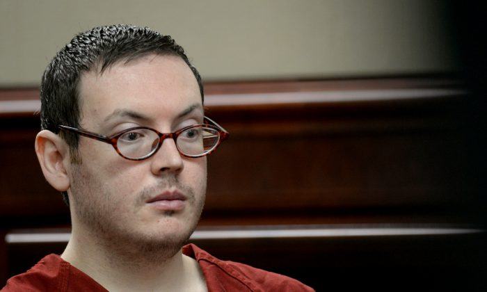 James Holmes appears in court to be formally sentenced, Tuesday, Aug. 25, 2015. (RJ Sangosti/The Denver Post via AP)