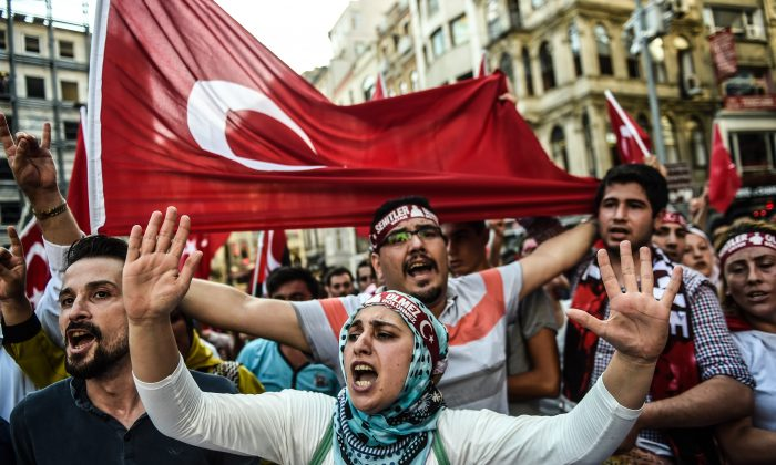 A demonstration against the Kurdistan Workers' Party (PKK) on Istiklal Avenue, in Istanbul, Turkey, on Aug. 16, 2015. (Ozan Kose/AFP/Getty Images)