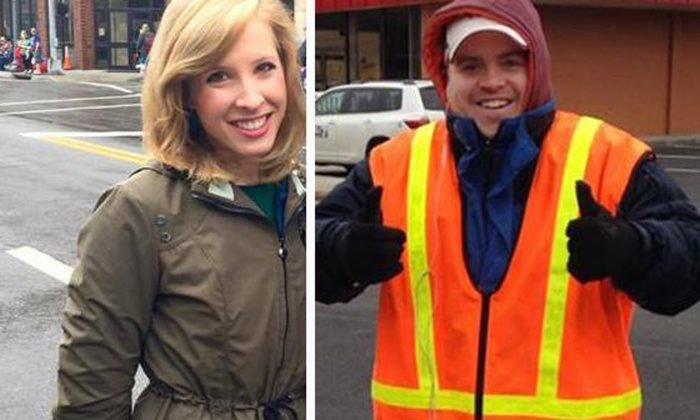 This undated composite photograph made available by WDBJ-TV shows reporter Alison Parker, left, and cameraman Adam Ward. Parker and Ward were fatally shot during an on-air interview, Wednesday, Aug. 26, 2015, in Moneta, Va. (WDBJ-TV via AP)