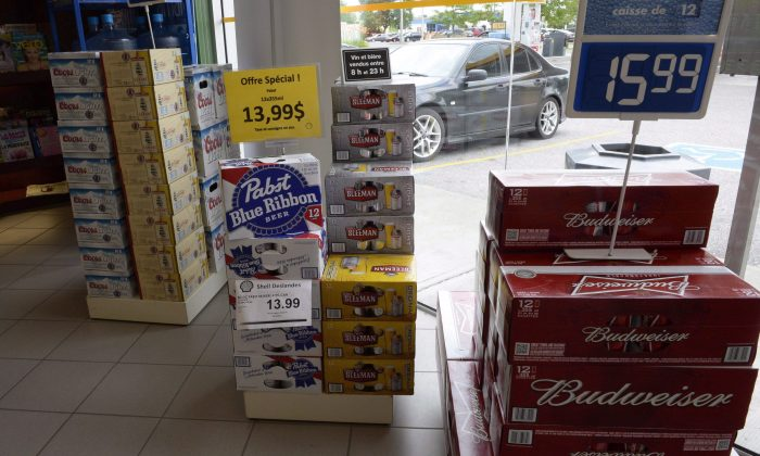 Beer on display inside a store in Drummondville, Que., on July 23, 2015. Gerard Comeau of Tracadie, New Brunswick, launched a constitutional challenge after he was charged with illegally importing alcohol into N.B. from neighbouring Quebec. (The Canadian Press/Ryan Remiorz)