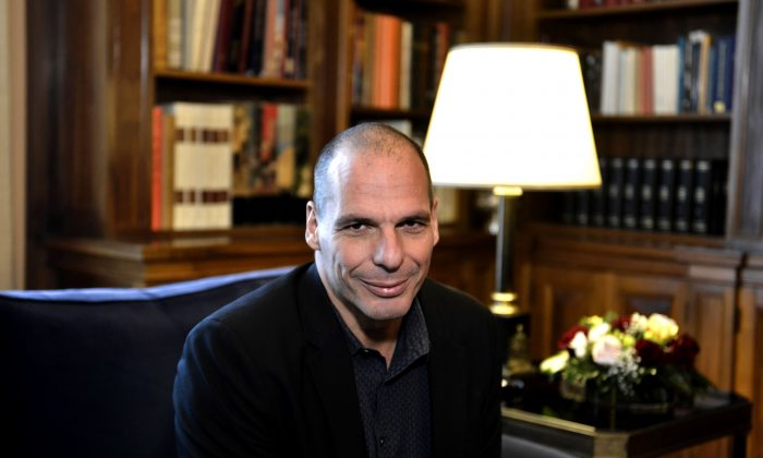 Yanis Varoufakis, then Greek finance minister, at a meeting with Greek President Prokopis Pavlopoulos (unseen) in Athens on March 24, 2015. (Aris Messinis/AFP/Getty Images)