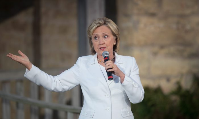 Democratic presidential candidate Hillary Clinton speaks to guests during a campaign event at Tabor Home Vineyards and Winery on August 26, 2015 in Baldwin, Iowa. (Scott Olson/Getty Images)
