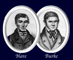 Portraits of serial killers William Hare and William Burke, ca. 1850. (Public Domain)