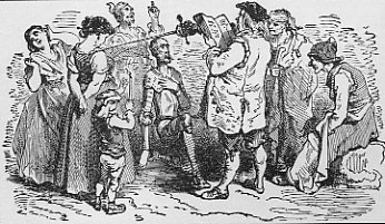 Don Quixote is knighted by the inn-keeper from The Book of Knowledge, The Grolier Society, 1911. (Wikimedia Commons)
