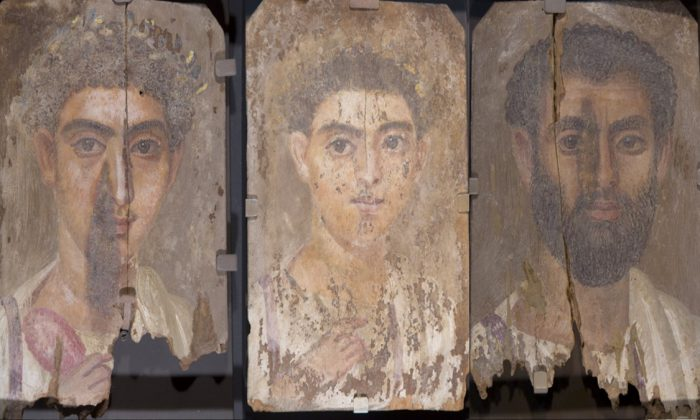 Above, Roman-era Egyptian mummy portraits from the site of Tebtunis, Egypt. Researchers found the synthetic pigment Egyptian blue in all three paintings. (Credit: Phoebe A. Hearst Museum of Anthropology, University of California, Berkeley)