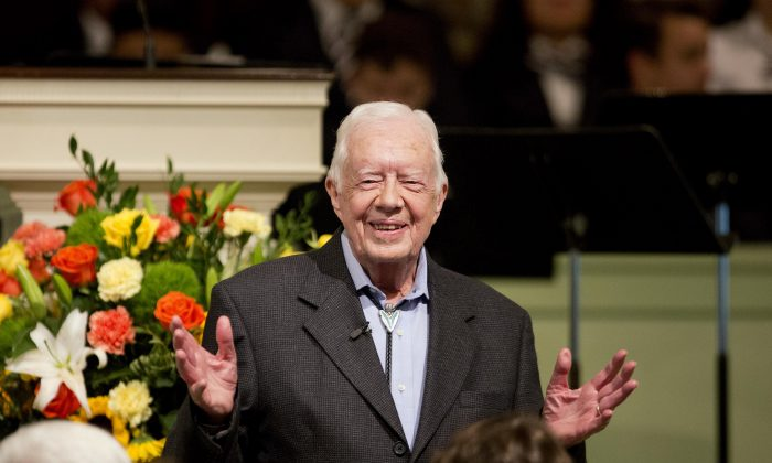 In this Aug. 23, 2015 file photo, former President Jimmy Carter teaches Sunday School class at Maranatha Baptist Church in his hometown  in Plains, Ga. (AP Photo/David Goldman)