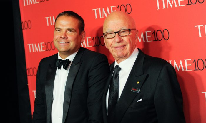 Lachlan Murdoch (L) and Rupert Murdoch (R) at the TIME 100 Gala, celebrating the 100 most influential people in the world, at the Frederick P. Rose Hall, Time Warner Center, in New York, on April 21, 2015. (Evan Agostini/Invision/AP)
