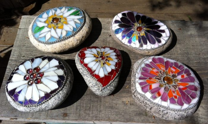 This undated photo shows a selection of mosaic stones handcrafted by Kathryn Boylston, of Evergreen, Colo.  (Kathryn Boylston via AP)