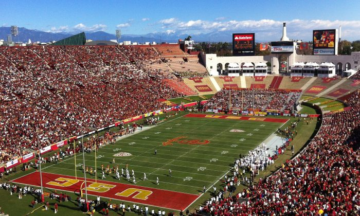 FILE - In this Nov. 11, 2012, file photo, Southern California pays against Arizona State in an NCAA college football game at Los Angeles Memorial Coliseum. (AP Photo/John Antczak, File)